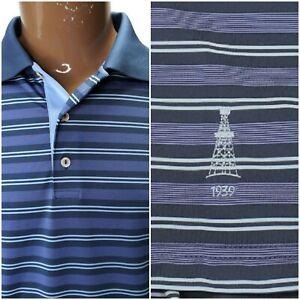 Peter Millar Summer Comfort Mens Golf Polo Purple Blue Striped 1939 XL