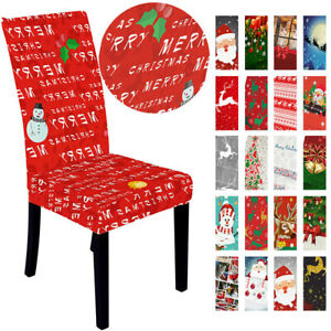 New Year Christmas Party Chair Back Covers Xmas Home Kitchen Seat Decor 1PCCover