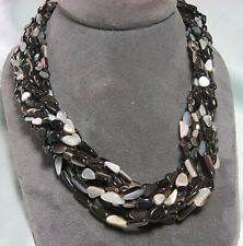 925 Sterling Silver Marcasite & Mother of Pearl Multi Strand Necklace