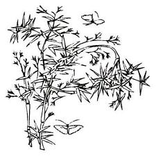 BAMBOO w/ Butterflies unmounted rubber stamp, Asian, Oriental, Japanese #12