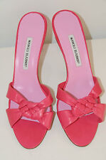 New MANOLO BLAHNIK EXIS SANDALS Slide SHOES Pink Soft Nappa Leather 37.5