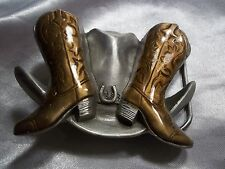 10 Gallon Hat Belt Buckle 4255 Vintage Heavy Pewter Cowboy Boots And
