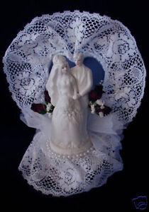 Porcelain Wedding Cake Topper- Burgundy Roses/Pearls