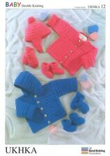 Double Knitting Pattern Jacket Hat Mittens Bootees Wool 0 To 2 Years 41-56 cm