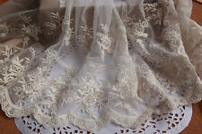 """Ivory Vintage Rose Embroidery Lace Tulle Lace Trims 9.44"""" Wide 2 Yards L067"""