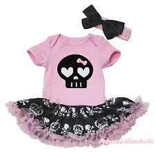 Black Skull Halloween Pink Bodysuit Girls Crown Skeleton Baby Dress Set NB-18M