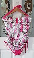 NEXT Halterneck Tanksuit Swimsuit Floral Foxglove Bees Size 14 BNWT