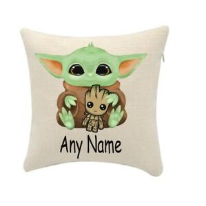 Baby Yoda cushion cover personalise with any name(cover only) 20cmx20cm