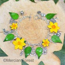 Wiccan Charm Bracelet - Daffodils - Pagan Jewellery Wicca Witch Spring Ostara