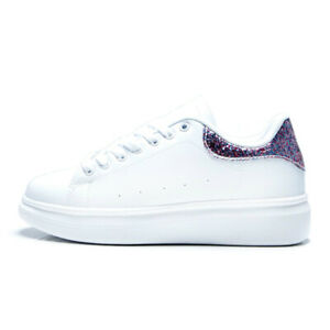 New Womens Oversized Look Sneakers Trainers White Glitter Ladies Platform Sole 7