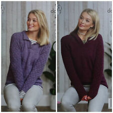 KNITTING PATTERN Ladies EASY KNIT Collared or Hooded Jumper DK King Cole 5017