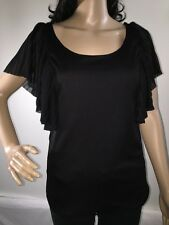 Black Butterfly Sleeve Blouse Medium Semi-Sheer Pleated Sexy Top Absolute Angel