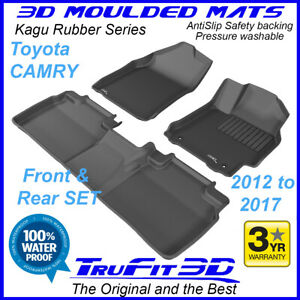Fits Toyota Camry 2012 - 2017 - 3D Car Floor Mats in black rubber