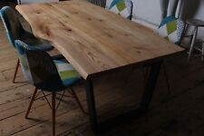 Solid Wood  Oak Ash dining table Live Edge Rustic metal legs MADE TO ORDER