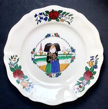Ancienne Grande  Assiette Hansi Alsace Fillette  Faïence De Sarreguemines  N°3