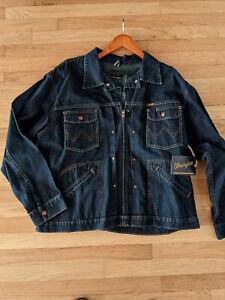L Vintage Wrangler Mens Classic Denim Jacket-Motorcycle Edition