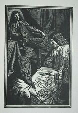 The Card Game, Cards - Genuine Woodblock Print C1928 (Woodcut) By W Jones