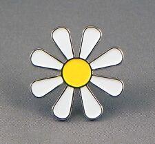 Daisy Hippy Flower Power Love Peace White Metal Enamel Pin Badge UK Gift PB-1830