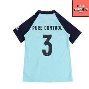 ADIDAS T-Shirt Top Size 11-12Y Coated Logo & Stripes Short Sleeve Spread Collar