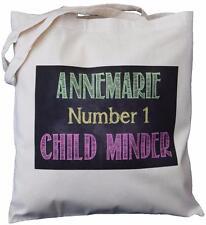 PERSONALISED - NO 1 CHILD MINDER - BLACKBOARD DESIGN - COTTON SHOULDER BAG