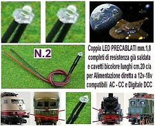 N.2 MICRO LED 12V e 18V mm.1,8 BIANCO per LUCI LOCOMOTORI DC e DCC SCALA N e HO