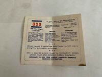 Vintage 1960's USO Rome Italy Brochure Card