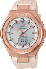 NEW CASIO G-MS Baby G Pink Gold Women's Solar Watch MSGS200G-4A Off White Band