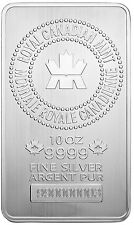 Royal Canadian Mint (RCM) 10 oz Silver Bar .9999 Fine - New