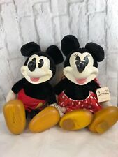 Vintage Disney Mickey Mouse Minnie Mouse Woodsculpt Series Dolls By Applause
