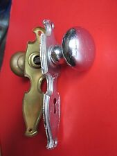 ANTIQUE DOOR HANDLE HARDWARE BRASS SILVER CHROME KEYED TWO COMPLETE SET PAIR OLD