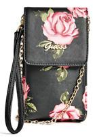 NWT GUESS PHONE HANDBAG WRISTLET WALLET Black Floral Logo Shoulder Bag GENUINE
