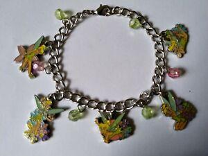 Disney Tinkerbell enamel charm bracelet 5 Charms