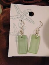 Nwt Sea Glass Light Green Mermaid Tears Fish Hook Pierced Earrings Approx 2""