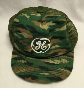 Vintage GE General Electric Camo Made In USA Mesh Snapback Mens Ball Hat Cap