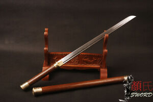Chinese Sword Handmade Tang Dynasty Dao Rosewood Handle Scabbard Folded Steel