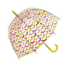 Adults Yellow clear dome mulit colour Sausage Dog umbrella by Susino