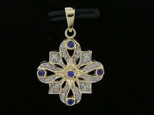 P057 Genuine 9ct Solid Gold NATURAL Diamond & Sapphire Pendant Vintage style