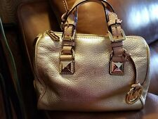 Micheal Kors Grayson Leather Satchel  Gold Metallic Purse Bag