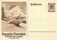 POSTAL STATIONERY - GERMANYN -  WINTER OLYMPICS - 1936  ( BOTH PRINTINGS )