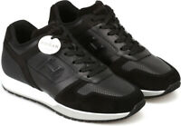 Hogan H321 Men's trainers shoes in black leather white sole Size UK 9.5 - EU 43½