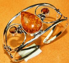 Free Shipping Baltic Amber & Cirine Topaz Silver Jewelry Bangle S.7 TO 9 IJ21-84