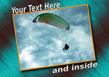 PERSONALISED PARAGLIDING SPORT BIRTHDAY ANY OCCASION CARD + illustrated insert