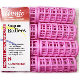 ANNIE SNAP ON ROLLERS #1004, 8 COUNT PINK X-LARGE 1-1/8""