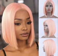 Peruvian Pink lace front Remy Human Hair Blend Frontal Wig Short In 10inches.