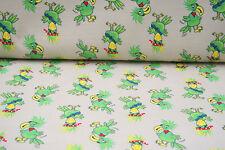 NEU Kinder Jersey Stoff Stoffe Meterware Vogel Beige Grün 25 cm
