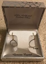 14 Kt Gold And Sterling Silver Earings Ginuine Crystal NEW With Tags!!