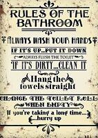 Rules Of The Bathroom... steel sign 400mm x 300mm (og)