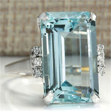 Natural Aquamarine Ring Wedding Ring Emerald Cut Blue 925 Silver Women Jewelry