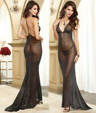 Women Sexy Lingerie Mesh Sparkled Black Low Cut Braces Floor Length Dress
