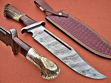Custom Hand Made Damascus steel Hunting Rambo Knife With Stag Horn Handle.